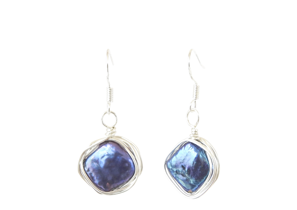 Blue diamond freshwater pearl earrings