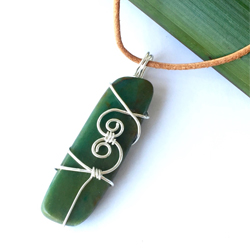 Recycled silver wire-wrapped NZ greenstone jewellery