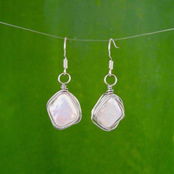 Ivory Diamond Pearl Earrings