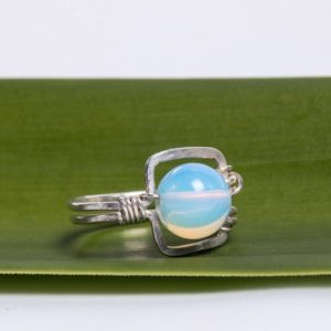 Opalite Moonstone Eco Sterling Silver Square Ring on Flax