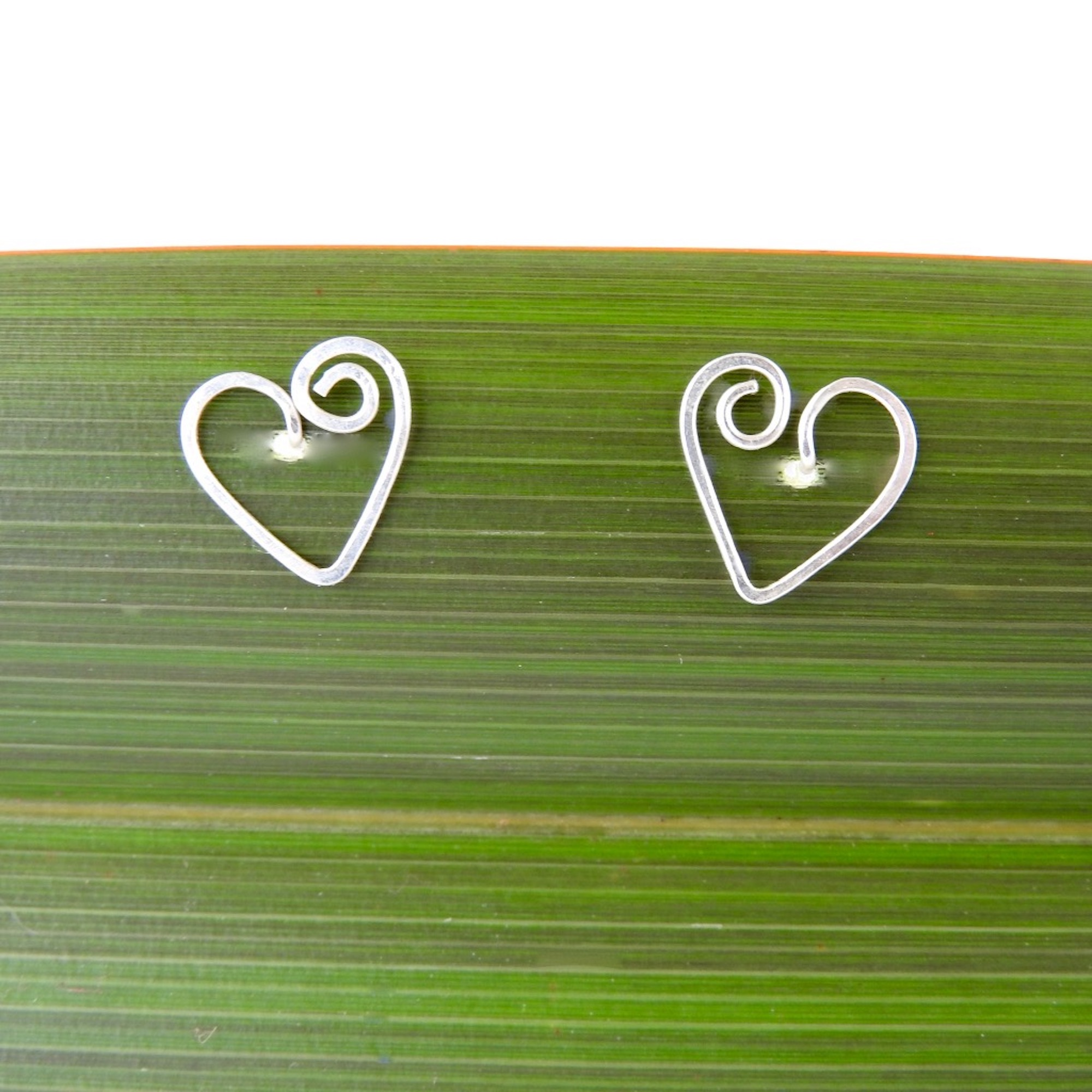 Recycled Silver Spiral Heart Studs_CU