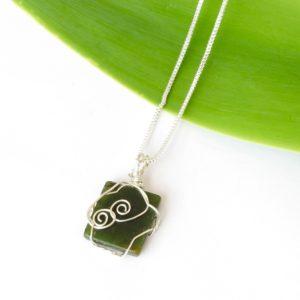 Completely unique silver double koru square kawakawa greenstone necklace top view