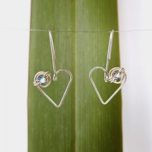 lovely hanging koru heart drop earrings with Swarovski Crystal