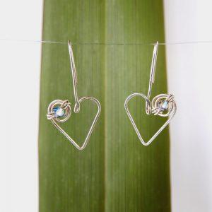 lovely hanging koru heart drop earrings with Swarovski Crystal