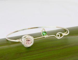 Rose and leaf Eco Silver Bangle
