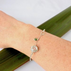 Rose and leaf Bangle being worn