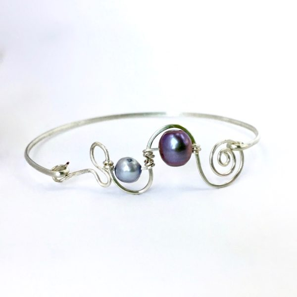 Blue Pearl Silver Spiral Bangle