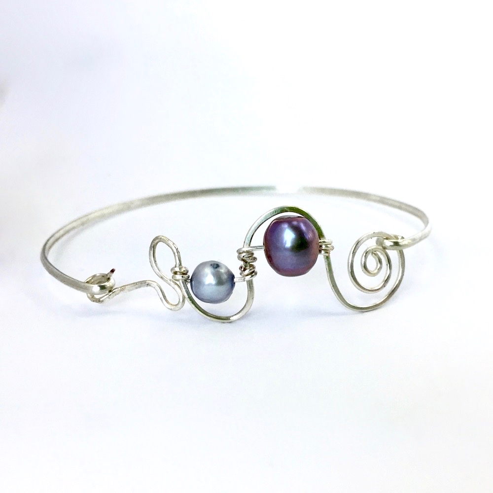 Contemporary Double Blue Freshwater Pearl Silver Spiral Bangle
