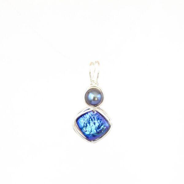 Iridescent Blue Geometric Pearl Pendant