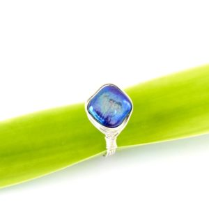 handcrafted diamond shaped freshwater pearl nested ring in eco Argentium Silver contemporary and sustainable in one step