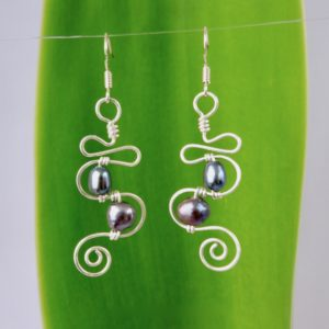 Squiggle and Spiral Eco Earrings with 2 pearls