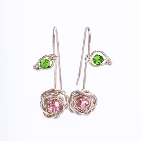 Rose and Leaf Drop Earrings with Swarovski Crystals