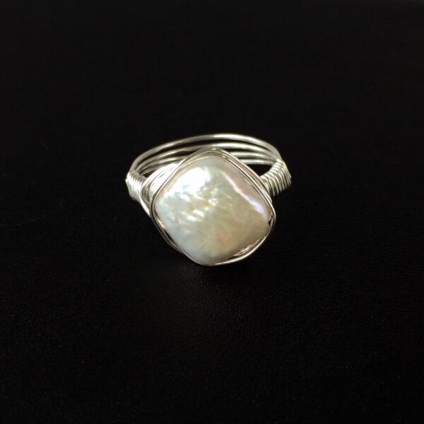 Ivory Diamond Freshwater Pearl Nested Ring on black