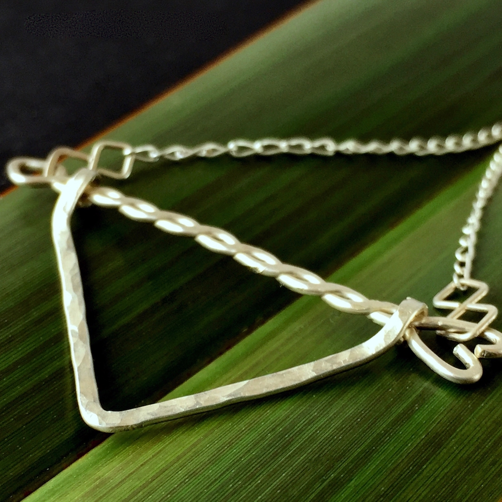 Recycled Sterling Silver Chevron Geometric Necklace