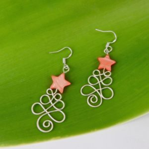 xmas earrings in eco sterling silver wire with red mother of pearl star at the top