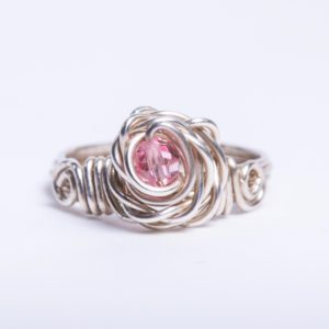 Eco Sterling Silver Rose Ring with pink Swarovski Crystal
