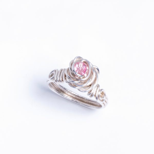 Eco Sterling Silver Rose Ring with Pink Swarovski Crystal_Top