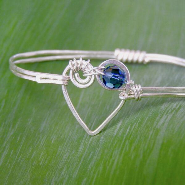 Koru spiral heart bangle with black AB Swarovski Crystal