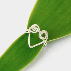 Koru Heart Ring with Clear AB Swarovski Crystal