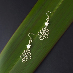 Christmas Tree Earrings in eco sterling silver with white Mother of Pearl star