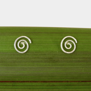 Eco Silver Round Spiral Stud Earrings on Flax