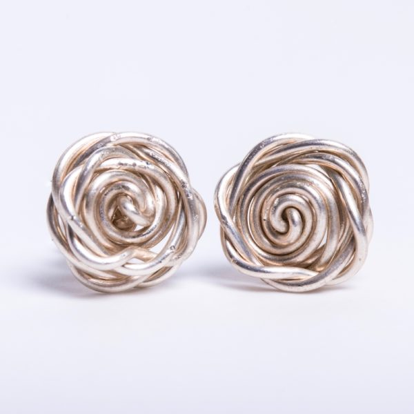 Eco Sterling Silver Rose Studs