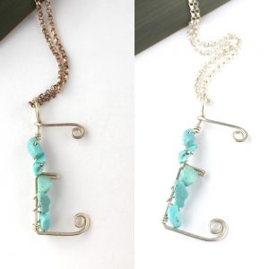 Tarnished and Cleaned Letter E Necklaces with turquoise in eco silver