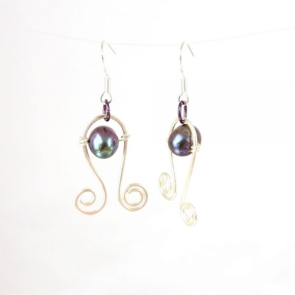 Eco Silver Curlicue Dangle Earrings with Black Freshwater Pearl