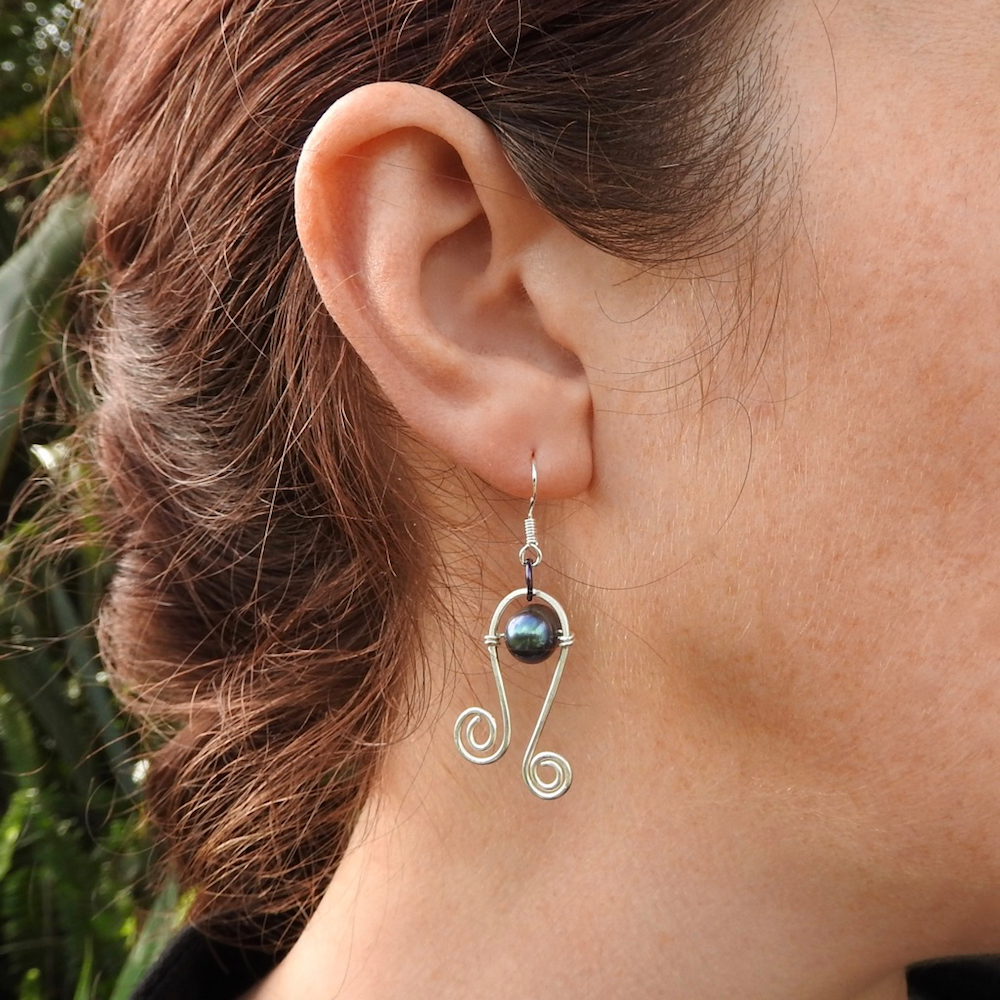 How to care for these Silver Curlicue Earrings with Black Cultured Freshwater Pearl_Worn