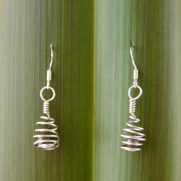 Silver Small Spiral Caged Earrings with black cultured pearl