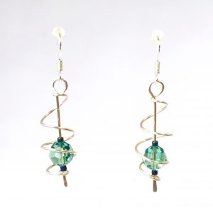 Open Spiral Cage Earrings with pale green Erinite Swarovski Crystals