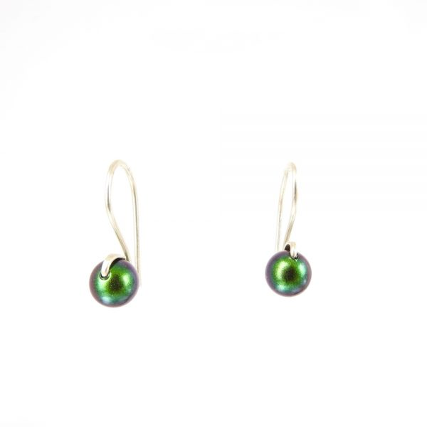 Small drop earrings in sustainably sourced sterling silver with green Swarovski Pearls