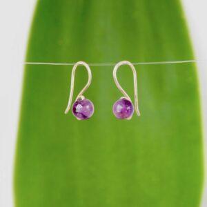 Amethyst Stone Small Drop Earrings in Eco Silver