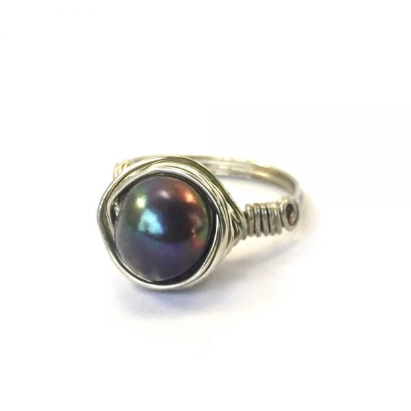 Black Pearl Silver Nested Ring