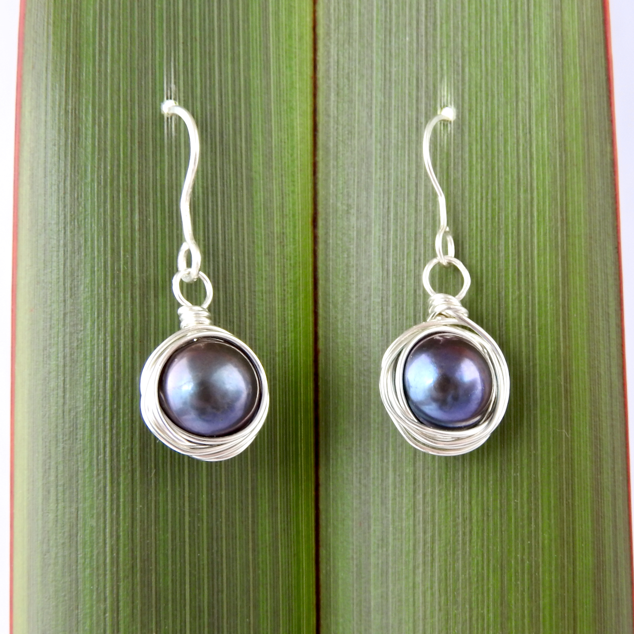 Black Pearl Round Wrapped Recycled Silver Earrings_Hung in Flax