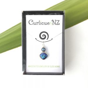Curlicue NZ Blue Diamond Pearl Pendant in gift box