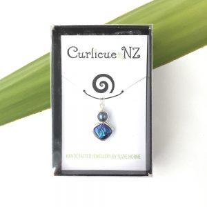 Curlicue NZ Blue Diamond Pearl Pendant in gift box