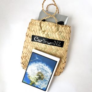 Premium Gift Wrap Service with small kete flax woven bag and handmade dandelion gift card