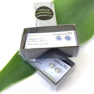 Curlicue NZ eco spiral Swarovski Crystal wrapped studs in gift box