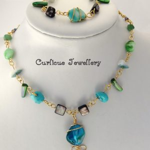 Turquoise & pearl set