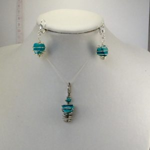 Spiral wrapped turquoise set