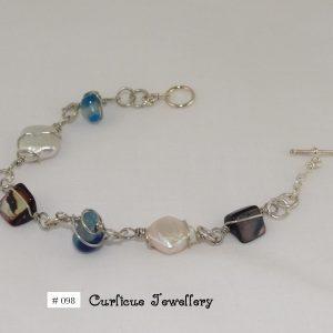 Paua, Pearl & Blue stone bracelet