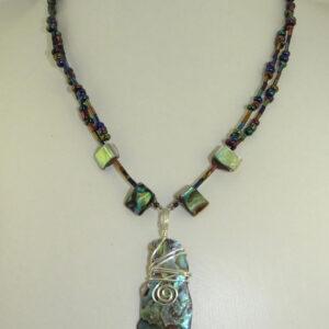 Bespoke Viking styled Paua shell necklace