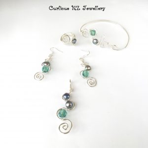 Squiggle & Spiral Design with Pearls and Swarovski Crystals