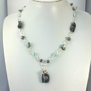 Greenstone, Pearl & Paua wrapped in Sterling Silver