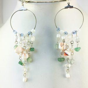 multicoloured shell bead hoop earrings