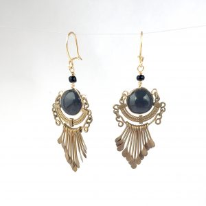 Gold and Black chandelier earrings repaired