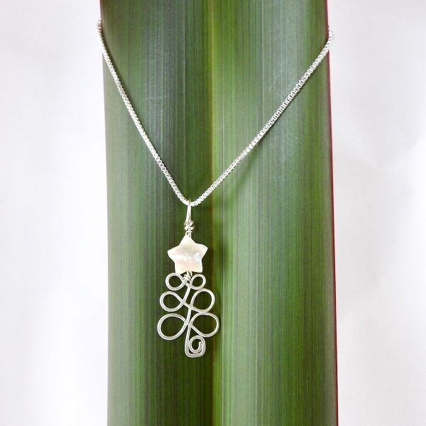 Wire wrapped Christmas Tree Necklace in eco Sterling Silver handmade in nz