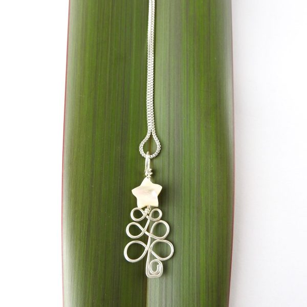 Christmas Tree Necklace in eco sterling silver with Ivory Mother of Pearl Star