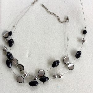 Broken Black and silver glass bead three strand wire necklace